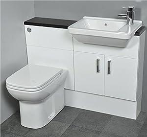 SLIMLINE Gloss White Fitted Bathroom Furniture 1100mm Basin Toilet ...