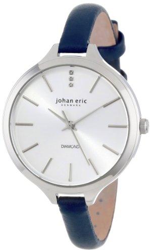 Johan Eric Women'S Je2100-04-001.3 Herlev Navy Blue Leather Diamond Accents Slim Watch