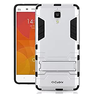 Cubix Robot Series Case Cover for XIAOMI MI4 (Silver) Scratch Free Slim Hybrid Defender Bumper shock proof Case Cover With Stand