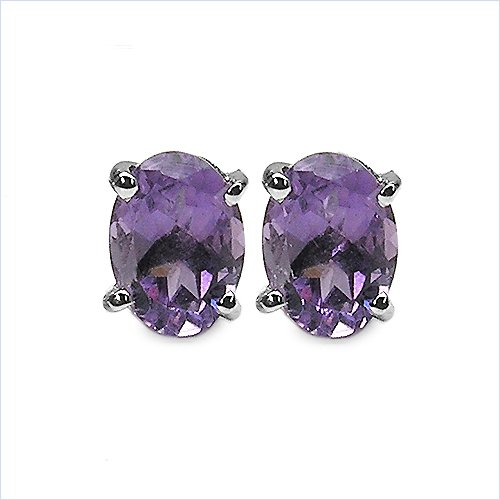 Jewelry-Schmidt-Amethyst Oval Earrings Rhodium silver 1.70 carats