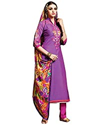 Saree dotcom Women's Chanderi Dress Material (Purple)