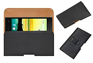 Acm Belt Holster Case For Lava A76 Cover Magnetic Closure Black