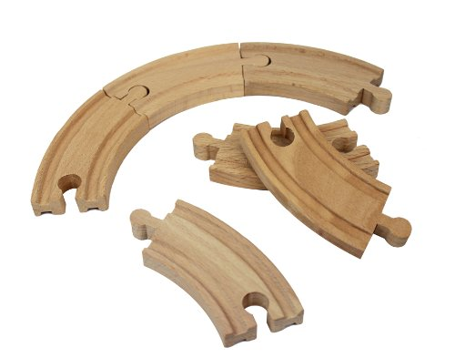 "Wooden Train Track Set: 6 Curved Tracks (3.5"" Each) - By Right Track Toys - 100% Compatible with All Major Brands including Thomas Wooden Railway System - 1"