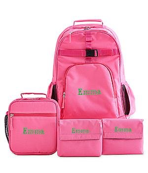 Personalized Girls Embroidered Super Value Set - Pink - Fun Serif - Lime Green Thread - Name - L - Back To School Gift