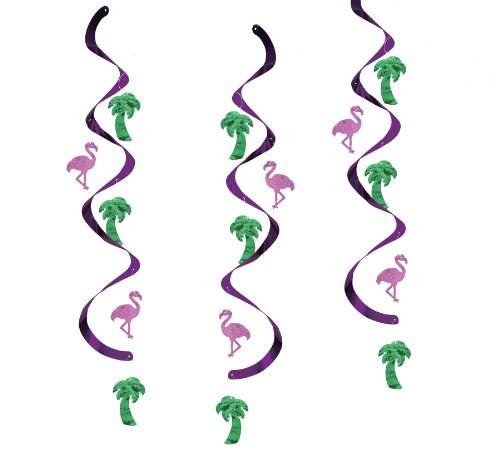 Creative Converting Dizzy Danglers Flamingos and Palm Trees Hanging Party Decor