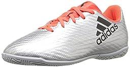 adidas Performance Kids\' X 16.4 Indoor Soccer Cleats, Silver Metallic/Black/Indoorfrared, 5.5 M US Big Kid