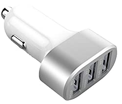 [Most Powerful Car Charger Ever]Smartfish 5.1A / 33W Premium Aluminum 3 USB Car Charger With Smart Sharing IC for Each USB Port- White