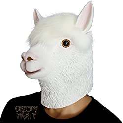 Novelty Halloween Costume Party Latex Animal Head Mask Alpaca