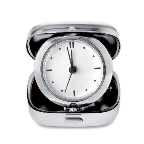 Classico Orologio Sveglia Da Tavolo Metallico Per Viaggi - Analogico, Lucido, Pieghevole e con Apertura a Scatto