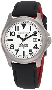Momentum Men's 1M-SP00W12B Atlas White Dial Black Touch Leather Watch
