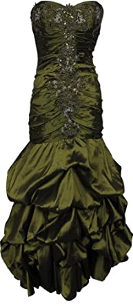 Beaded Embroidered Taffeta Long Gown Prom Holiday Dress, XS, Olive