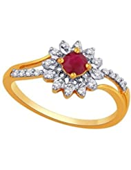 0.13 CT 14K Yellow Gold Over Sterling Round White And Red CZ Star Flower Ring For Women's