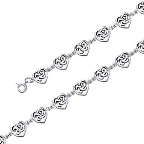 97b8223c6 Bling Jewelry Celtic Knot Heart 925 Sterling Silver Link Bracelet 7 inches