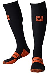MudGear Obstacle Race Compression Socks - For Elite Sports Training, Endurance Running, Athletic Performance and Fast Recovery - Graduated Compression Provides Calf Support, Helps Prevent Injury and Boost Circulation - 1 Pair Mens and Womens, Black