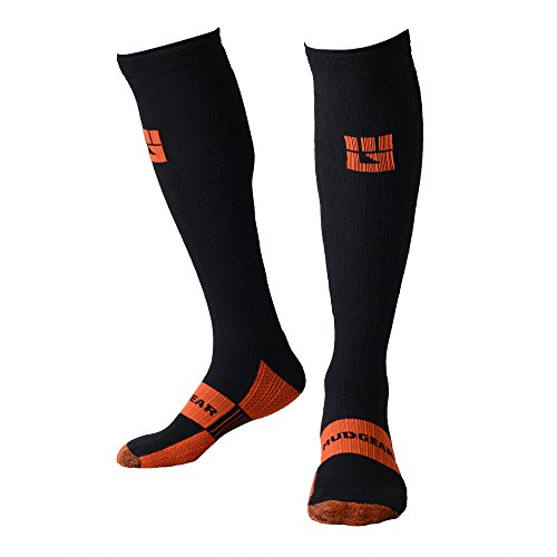 MudGear Obstacle Race Compression Socks - For Elite Sports Training, Endurance Running, Athletic Performance and Fast Recovery - Graduated Compression Provides Calf Support, Helps Prevent Injury and Boost Circulation - 1 Pair Mens and Womens, Black (Med)