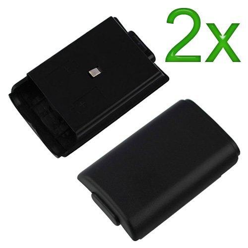 2x Black Battery Cover for Microsoft Xbox 360 (Cover Controller Xbox 360 compare prices)
