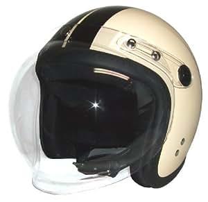 SG規格適合品 縁ゴム糸縫い アイボリーブラックライン バブルシールド ジェット ヘルメット