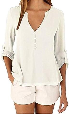 Sherizo Women's 3/4 Cuffed Sleeve Chiffon Blouse Button V Neck T Shirt(S-5XL) White Medium