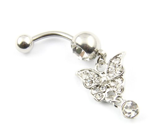 316L Surgical Steel 14G Clear Crystal Butterfly Dangle Belly Bar Navel Ring Barbell Stud