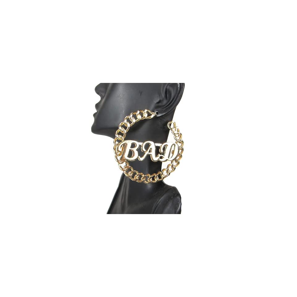 Womens Fashion Celebrity Inspired Gold BAD Symbol Link Chain Hoop Earrings Post Back