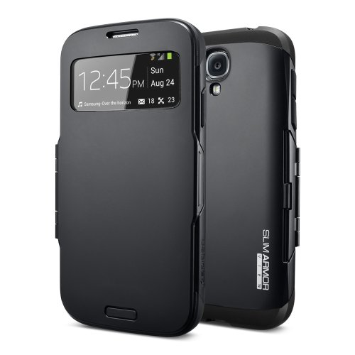 Galaxy S4 Case, Spigen Slim Armor View Case for Samsung Galaxy S4 - SF Smooth Black (SGP10343)