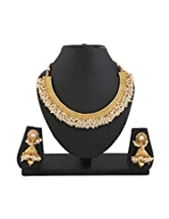 YouBella Latest Traditional Pearl Temple Coin Necklace Set For Women