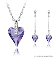 buy Nicedeco Purple,Swarovski Elements Austrian Crystal Jewelry Sets,As You Wish,Necklace And Earring(2-Piece Set),Elegant Style And Exquisite Craftsmanship