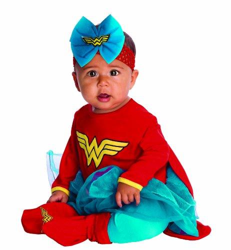 DC Comics Baby Wonder Woman Onesie And Headpiece, Red, Newborn Costume