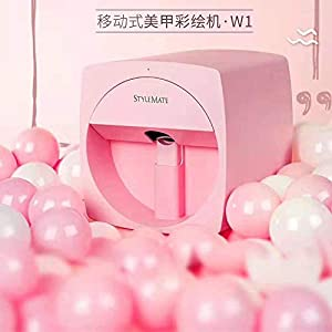 Stylemate W1 Pink Digital Auto Nail Art Printer Printing Pattern Stamp Smat Phone (IOS Android) Transfer Colorful Picture Without English Manual