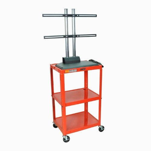 "Two Shelf Adjustable Height Av Cart (Royal Blue) (42""H X 24""W X 18""D)"
