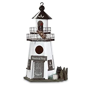 Gifts & Decor Nautical Nest Wood Lighthouse Bird House (Discontinued by Manufacturer)