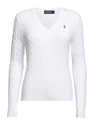 Polo Ralph Lauren Cable Knit V-Neck kenie Pullover Kimberly bianco classic white Medium