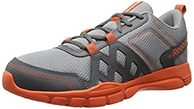 Reebok Men's Trainfusion RS 3.0 Leather Training Shoe,Rivet Grey/Flat Grey/Flux Orange,8 M US