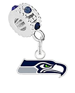 Seattle Seahawks Charm with Connector Will Fit Pandora, Troll, Biagi & More