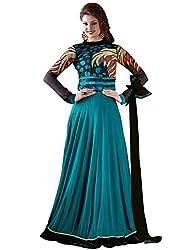 Orange Fab Women's Georgette Anarkali Suit Dress Material