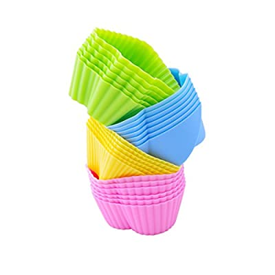MIREN Reusable and Non-stick Silicone Baking Cups/Muffins Cup Molds in storage Container-24 Pack-4 Vibrant Colors-4 Shapes(Flower,Star,Heart,Tree)