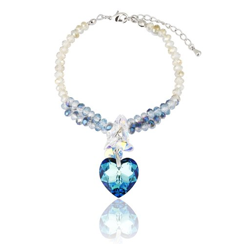 On sale at half price! Stunning Delicate Ornate Vintage All Swarovski Hearts Crystals Elements, ''Amour'' LOVE Bracelet, with Pure Swarovski Cut Crystal Beads. 3 Beautiful Colour Options Available; Sapphire Blue, Amethyst Purple& Siam Red in 14K Gold or Silver Rhodium. Great Christmas or Anniversary Gift Idea for Her. Prices Slashed in our Christmas Shop. (Pure Amethyst Crystal compare prices)