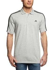adidas Herren Poloshirt Essentials 3-Stripes, Medium Grey Heather/Black, S, X19162