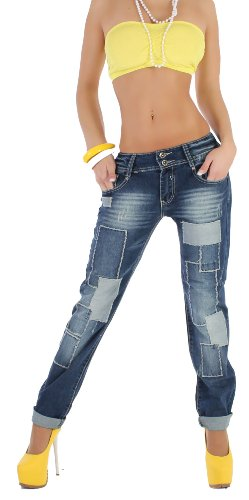 damenbekleidung sexy damen boyfriend jeans hose baggy flicken look 38 m. Black Bedroom Furniture Sets. Home Design Ideas