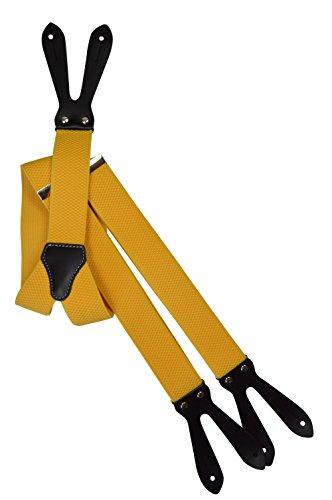 Unisex Bretelle regolabili con Vera Pelle Asole, 3.5cm larghezza - Giallo