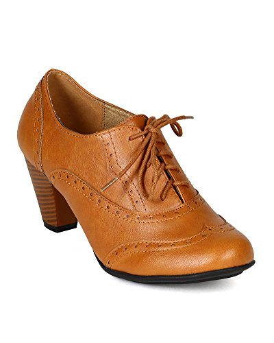 Refresh-BH50-Women-Leatherette-Lace-Up-Oxford-Chunky-Heel-Bootie-Tan