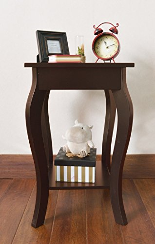 Espresso Finish Curved Legs Accent Side End Table with Bottom Shelf (Side Table Espresso Curved Legs compare prices)