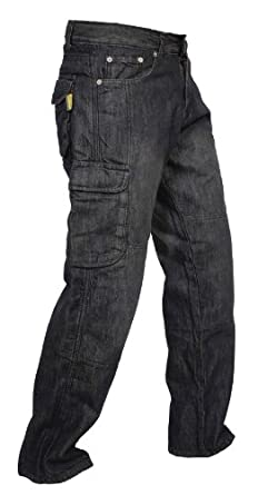 Men's Black Denim Protective Motorcycle Motorbike Biker Trousers Pants Jeans Cargo Reinforced with Aramid Protection Lining