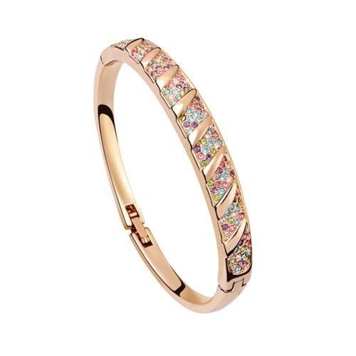 Dreamslink Fashion Jewellery 18K Rose Gold Plated Bangle Chain Multicolor Swarovski Elements Austria Crystal Shinning Crystal Inlay Bracelet 91163