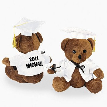 Personalized Plush Graduation Bear – White – Novelty Toys & Plush