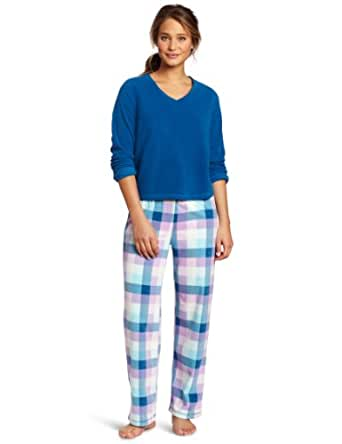 Dearfoams Women's Long Sleeve V-Neck Pajama Set, Blue Cabin Plaid, Medium