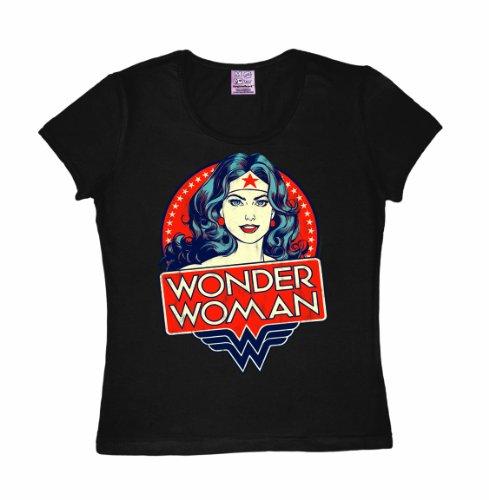 T-shirt donna Wonder Woman - Ritratto - DC Comics - Wonder Woman - Portrait - L'eroina - maglietta girocollo di LOGOSHIRT - marrone - design originale concesso su licenza, taglia L