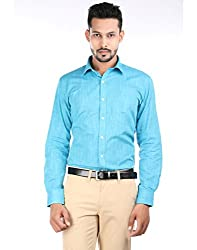 Oxemberg Men's Solid Formal 100% Cotton Turq Shirt