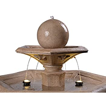 Kenroy Home 51032SNDST Riviera Outdoor Tiered Fountain with Lights, 56 Inch Height, Sandstone