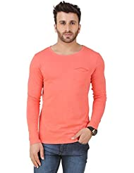 Frost CoralSolid Full Sleeve Scoop Neck T-Shirt